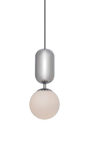 Meubletmoi Suspension Boule en Verre avec Une Finition chromée – Style rétro – Globe Chrome