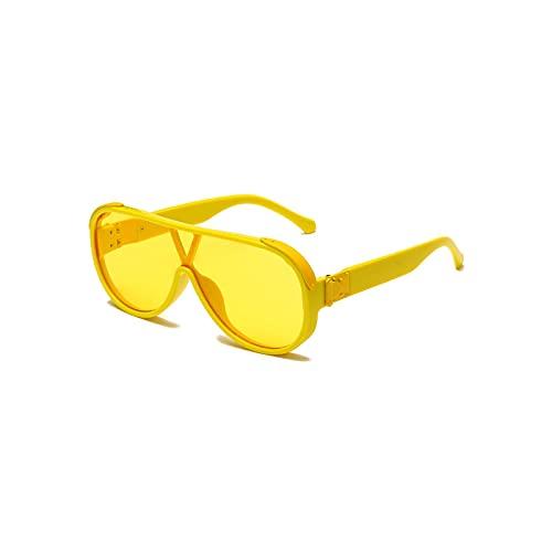 QIXIAO Gafas de Sol de Moda para Mujeres y Hombres de Moda Retro Gafas de Sol Lentes Redondas UV400 Gafas de Sol de Aviador (Color : Yellow, Size : 71mm)