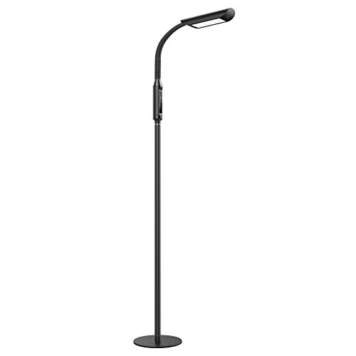 TaoTronics LED Floor Lamp 1815 Lux & 50,000 Hours Lifespan, Dimmable Standing Floor Light Flexible Gooseneck Touch Control Panel for Living Room Office Reading, UL adapter