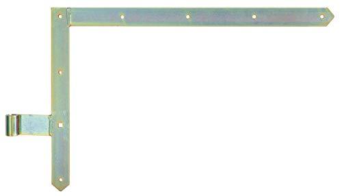 GAH-Alberts 313104 Grindvinkelbeslag | i olika utföranden för grindar, garageportar och trädgårdsgrindar | gul galvanisering | håldiameter 16 mm | Storlek 400 x 600 mm