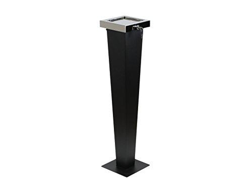 adorini Designer Standaschenbecher - 3 in 1 – Draußen und Drinnen Nutzbar 94 cm Hoch Schwarz und Silber Aschenbecher aus Hochwertigem Edelstahl mit Diebstahlschutz