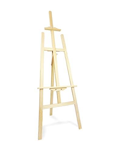 Caballete de madera para pintar ideal para soporte de lienzos pinturas óleo, acrílicas o exposición de cuadros (145CM)
