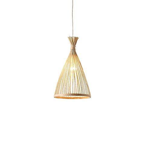 wangch Lámpara colgante de linterna de bambú E27 Lámpara de araña de bambú chino Mimbre de mimbre Tejido a mano Lámpara colgante de bambú Restaurante, bar, dormitorio, sala de estar Iluminación Decora