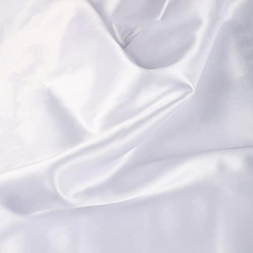 ZXC 150 cm De Ancho Tela De Raso Tela SatéN Vestidos Y Manualidades 1m Se Vende por Metros para Costura ElaboracióN De Ropa Ideal para Elaborar Vestidos para Bodas Graduaciones Raso(Color:Blanco)
