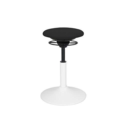 BALIMO Classic, Bürohocker, Sitzhocker, ergonomischer Rücken-Trainer, Standfuß weiß, Bezug schwarz
