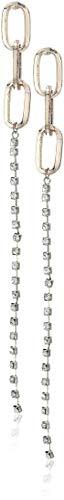 Steve Madden Women's Three Link Facet Stone Dangle Two-Tone Earrings