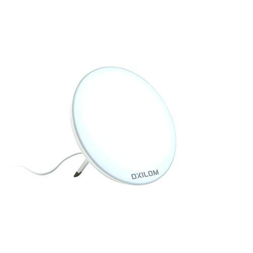 OXILOM Lumeye1 - Lámpara de luminoterapia de mesa, 10.000 lux a 12 cm, zona de iluminación de 25 cm de diámetro, soporte sólido y elegante, CE médico y registrado en la ANSM, manual en francés