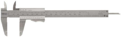 "Mitutoyo 531-128 Vernier Calipers, Stainless Steel, for Inside, Outside, Depth and Step Measurements, Inch/Metric, 0""/0mm-6""/150mm Range, +/-0.0011""/0.03mm Accuracy, 0.001""/0.02mm Resolution, 40mm Jaw Depth"