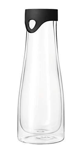 Leonardo Primo Wasserkaraffe doppelwandig, 1 l, Höhe 28 cm, handgefertigtes Klarglas, 054123