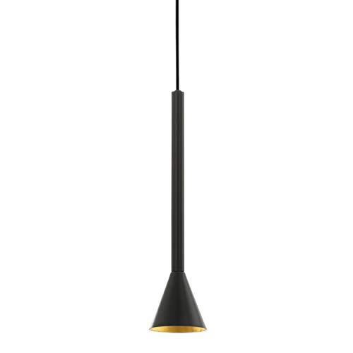 EGLO Lámpara colgante Cortaderas, 1 foco, vintage, industrial, lámpara de techo de acero en negro, dorado, lámpara de comedor, lámpara de salón colgante con casquillo GU10