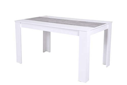 Avanti Trendstore - Lilia - Esstisch aus weißem Holzdekor, mit abgewinkelten Füßen, die eine höhere Stabilität bieten. Maße BHT 140x76x80 cm