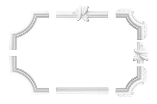 Wand- und Deckenumrandung | 4 Ecksegmente | Barock | Deko Rahmen | Styropor | EPS | innen | Bordüre | 220 x 220 mm | NE-19-02D