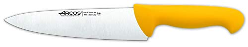 Arcos Serie 2900, Cuchillo Cocinero, Hoja de Acero Inoxidable Nitrum de 200 mm, Mango inyectado en Polipropileno Color Amarillo