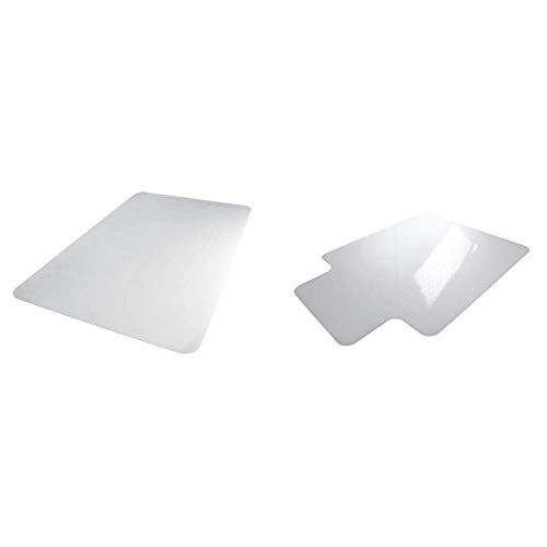 "AmazonBasics Polycarbonate Office Carpet Chair Mat, for Thick Carpets, 35"" x 47"" & Polycarbonate Office Carpet Chair Mat, with Lip, for Thick Carpets, 47"" x 53"""