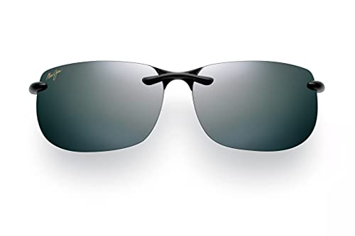 Maui Jim unisex adult Banyans Sunglasses, Gloss Black Neutral Grey Polarized, One Size US