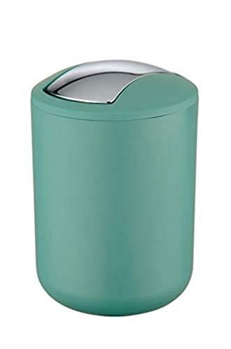 WENKO Schwingdeckeleimer Brasil Grün S - Kosmetikeimer, absolut bruchsicher Fassungsvermögen: 2 l, Kunststoff (TPE), 14 x 21 x 14 cm, Grün