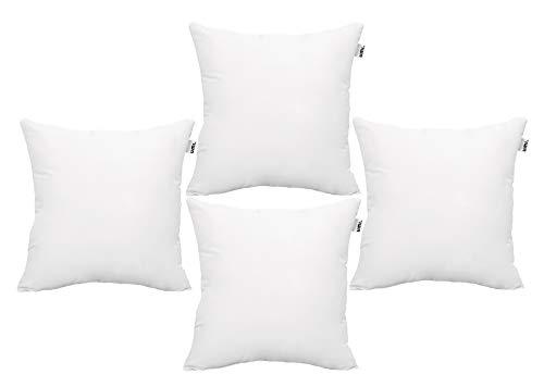 Amazon Brand - Umi , cuscini rettangolari, poliestere ipoallergenico, morbidi e soffici, set da 4, colore bianco, 45 x 45 cm