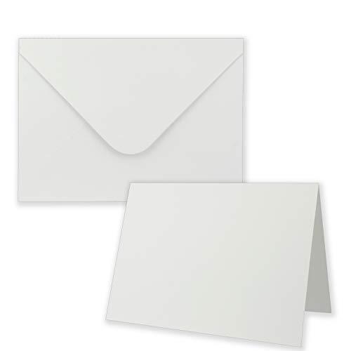 Gustav Neuser® Lot de cartes d'invitation pliables avec enveloppes – Cartes d'invitation blanches avec gaufrage structuré – Plus grand que DIN B6 – Cartes pliantes avec motif estampé 20 Sets Blanc.