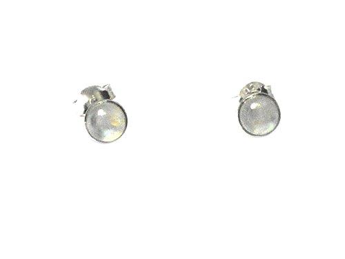Mondstein rund Sterling Silber Edelstein Ohrstecker/Ohrringe 925–5mm (mst1404171)