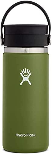 Hydro Flask Termo de café de viaje de 473ml (16 oz), acero inoxidable y doble pared al vacío, boca ancha con tapa Flex Sip hermética, Olive