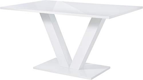 Loft24 Anett Designer Esstisch Modern Weiß Hochglanz Küchentisch Esszimmertisch Säulentisch Konferenztisch 140x90 cm