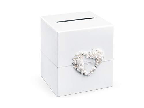 Party Deco - Scatola regalo per gli ospiti, con cuore di rosa, 24 x 24 x 24 cm, colore: Bianco