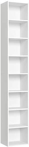 Blackzebra Librería Estantería de Pared 8 Cubos Estantería para CDs DVDs Estantes Ajustables Estantería Alta del Suelo para Libros CDs Blanco 180x29.5x23.5cm