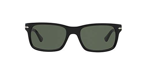 Persol PO3048S Rectangular Sunglasses, Black/Crystal Green, 55 mm