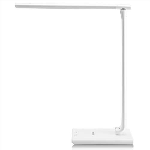 Monzana LED Schreibtischleuchte Weiß 5 Helligkeitsstufen Touch 12W Ladeanschluss 560lm dimmbar Schreibtischlampe Büro