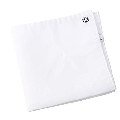 [フェアファクス] FAIRFAX リネン100% ポケットチーフ 白無地 ワンポイント サッカーボール 日本製