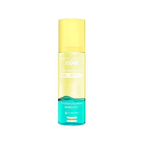 ISDIN Hydrolotion LSF 50 - Biphasischer Sonnenschutz für den Körper, PROTECT & DETOX, Spendet Feuchtigkeit, Strahlende Haut, 200ml
