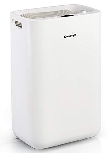 Greenmigo Deshumidificador Eléctrico Portátil 13L/24h con Refrigerante R290,Deshumidificación Continua y Silenciosa,Automático hasta 50m2 para Hogar Dormitorio Cocina Armarios Garaje