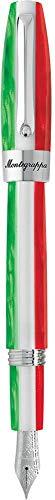 MONTEGRAPPA Collezione FORTUNA TRICOLORE Italia Penna Stilografica, placcato Palladio, Stilo punta Larga