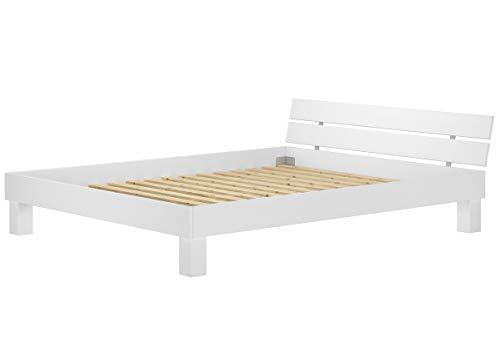 Erst-Holz® Massivholzbett in Überlänge 180x220 Buche Doppelbett waschweiß mit Rollrost 60.86-18-220 W