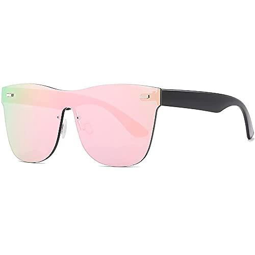 Infinity Fashion Gafas de sol de colores, lentes llenas cuadradas de colores para mujeres y hombres, lentes con espejo sin montura, Pink,
