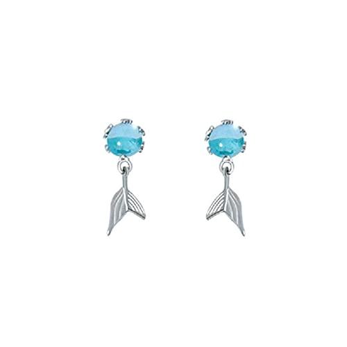 Azul Mar Crystal Sirenas Stud Pendientes Mujeres Belleza Cola de Pez Pulsera Anillos Sirenas Colgante Collar Moda Joyería Anillo Anillo Anillo