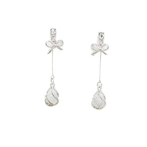 2 pares de pendientes elegantes con incrustaciones de diamantes de imitación, pendientes de ópalo con arco largo para mujer