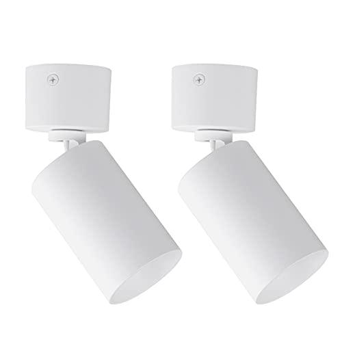 Klighten 2 Pcs Foco de Techo Blanco Orientable GU10, Focos Superficie Ajustables, Redondo Lampara Focos Techo de Aluminio...