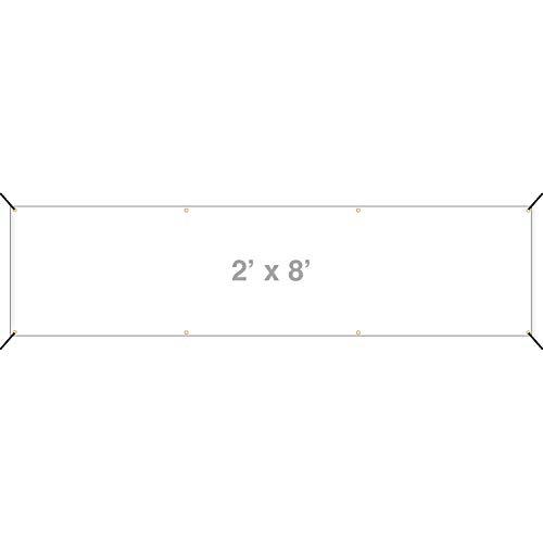 HALF PRICE BANNERS   Blank Vinyl Banner -Indoor/Outdoor 2X8 Foot -White   Includes Zip Ties   Easy Hang Sign-Made in USA