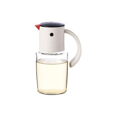 XKMY Botella de aceite para cocina, dispensador de aceite de vidrio, apertura automática, cierre de botellas para aceite y vinagre, contenedor de aceite de oliva, lata de aceite (color: 320 ml blanco)