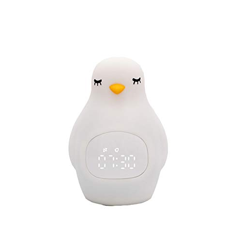 whbage Wecker, Pinguin-Form, LED-Nachtlicht, Pinguin-Ausschnitt, Wecker, weiches Silikon, niedliche Wecklampe für Kinder, USB-Kabel
