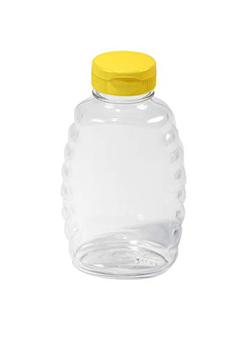 Little Giant Plastic Skep-Style Jar Honey Squeeze Bottle with Flip-top Lid (16 Ounce, 12 Pack) (Item No. SKEP16)