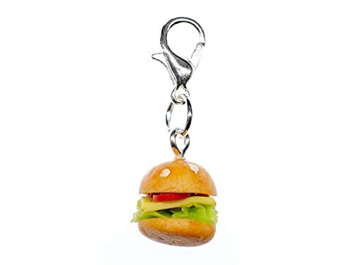 Miniblings Hamburger Cheeseburger Charm Zipper Pull 12mm - Handmade Modeschmuck I Kettenanhänger versilbert - Bettelanhänger Bettelarmband - Anhänger für Armband