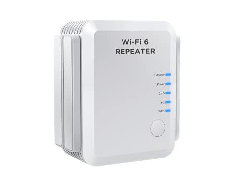 Tiskgg 2300M WLAN Repeater WiFi 6 Mesh Extender mit 4 Antennen (AX Dualband bis zu 1800M (5,8GHz) + 500M(2,4 GHz), 1x Gigabit-LAN),Internet Verstärker 200m², Intelligente Signalanzeige,100{5330e1d6466c56a9971be69c1b32ed73cb57e9d6f300c947de22df60e35cde46} Kompatibel