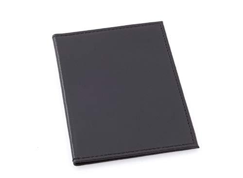 Echt Leder Fahrzeugschein Hülle Ausweishülle Mappe Schwarz mit 2 Sichtfenstern für Damen & Herren (Schwarz)