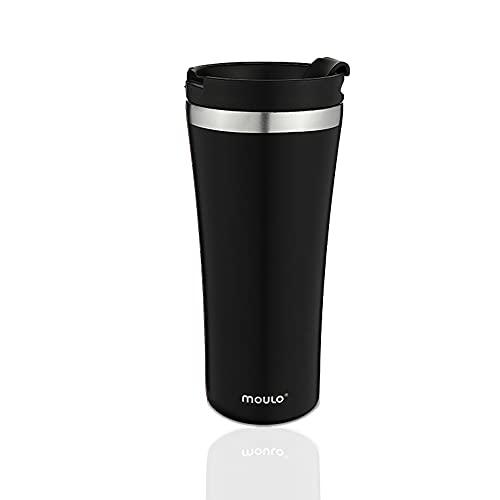 moulo Core Thermobecher aus Edelstahl, 470 ml Isolierbecher in schwarz, Kaffeebecher to go, auch für die Tee geeignet, auslaufsicher