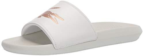 Lacoste Women's Croco Slide PREM 120 4 U Sandal, Off White/Gold, 9 Medium US