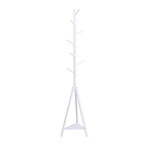 Perchero de Pie, Soporte De La Bastidor De La Capa De Madera Maciza, El árbol De La Sala De árbol Con Los Estantes Y El Perchero De La Capa De Pie Para La Oficina De Dormitorio De Entr(Color:blanco)