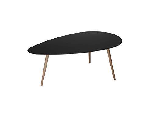 Ibbe Design Oval Rund Schwarz Couchtisch Modern Skandinavisch Retro Kaffeetisch Beistelltisch MDF Fly, Natur Massiv Buche Holz Beine, 116x66x45 cm