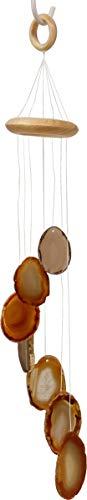 Achat Windspiel, 40 cm mit 7 natürlichen Achat Scheiben, Edelstein Mobile Schutz und Glück